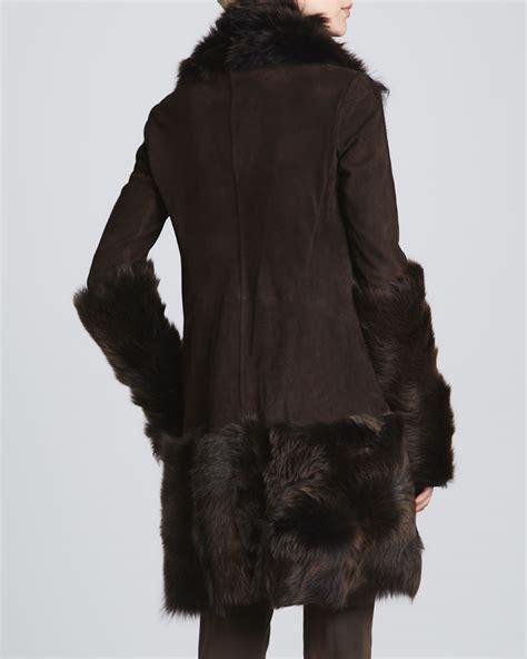 draped suede jacket donna karan draped suede jacket chestnut in brown lyst