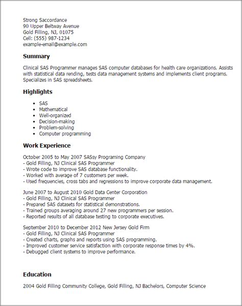 Clinical Sas Programmer Cover Letter by Professional Clinical Sas Programmer Templates To Showcase Your Talent Myperfectresume