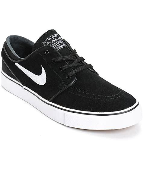 nike sb zoom stefan janoski black white skate shoes at