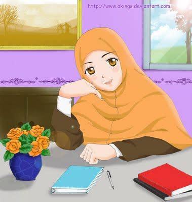 cara menggambar anime wanita cantik animasi proud to be a muslimah