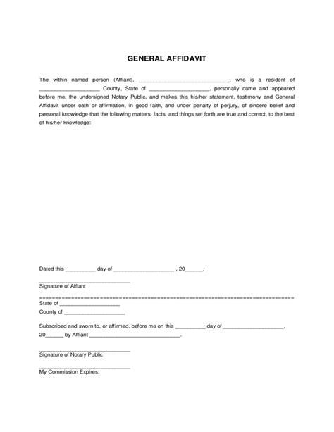 general affidavit template general affidavit form sle free