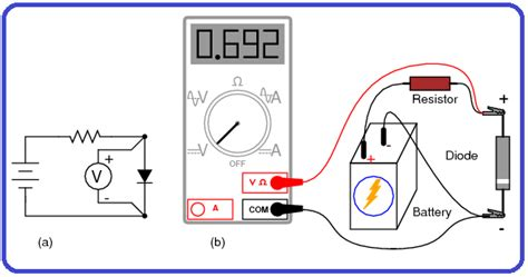 how to check mobile diode measuring voltage of a diode without diode check quot meter function quot a schematic diagram b