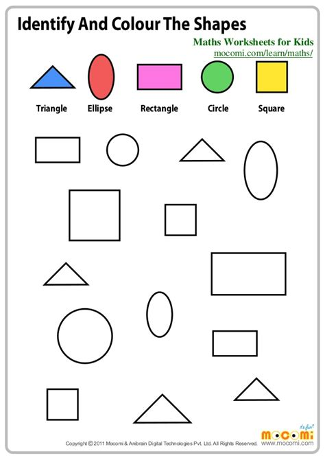 shapes worksheet reception identify and colour the shapes maths worksheets for kids