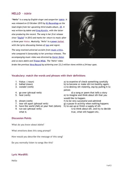 printable lyrics hello adele song worksheet hello by adele vocabulary and reading