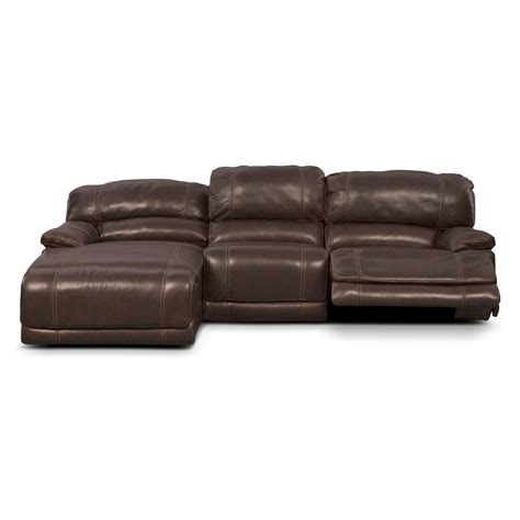 Power Reclining Sectional Sofa With Chaise St Malo 3 Power Reclining Sectional With Left Facing Chaise Brown Value City Furniture