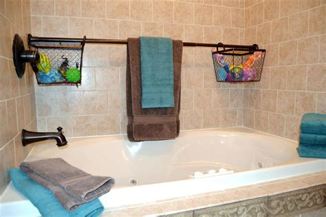 bathtub storage use extra shower curtain rods to increase bathroom storage