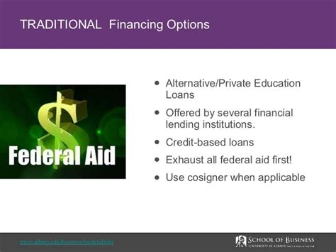 Is Mba Finance A Option by Mba Financing Options Ualbany Weekend Mba