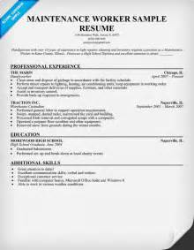 Maintenance Resume Template Maintenance Worker Resume Template