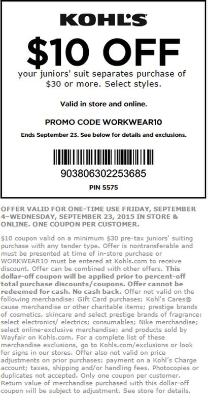 pers printable coupons september 2015 kohls coupons september 2016 coupon codes printable