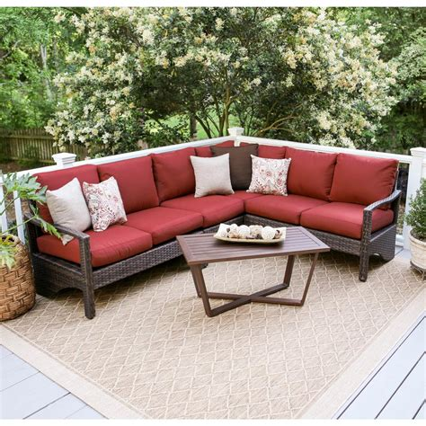 red outdoor sectional leisure made augusta 5 piece wicker outdoor sectional set