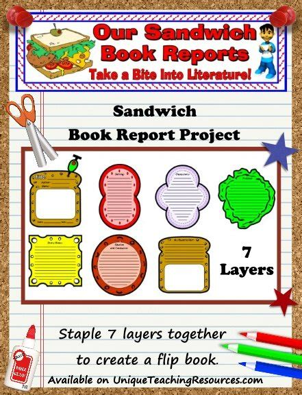 flip book report sandwich book report project templates printable
