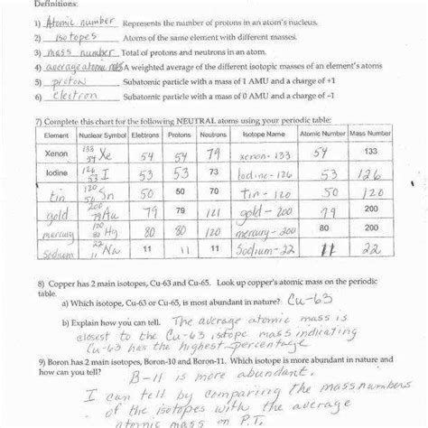 Chapter 4 Atomic Structure Worksheet Answer Key