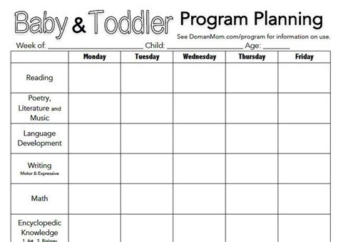 program plan template for child care toddler activities baby toddler and toddlers on