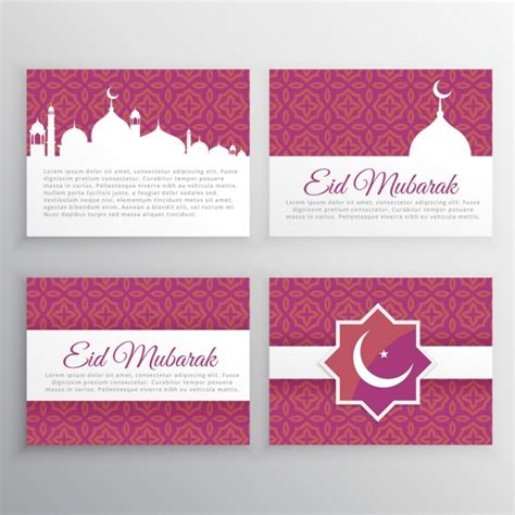 free eid mubarak card templates eid mubarak cards set vector free