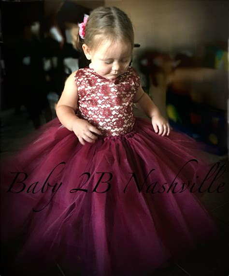 Baby Wine Tutu Dres wine lace flower dress wedding flower dress