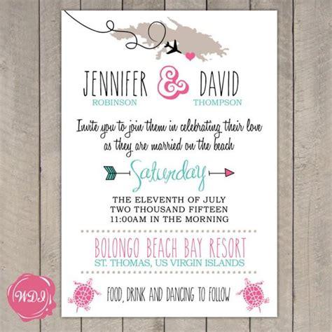tropical island themed wedding invitations destination wedding invitation travel theme