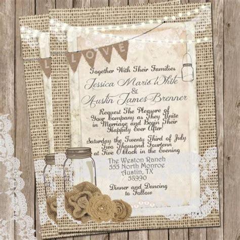 free jar wedding invitation printable templates rustic burlap and lace wedding invitation invite