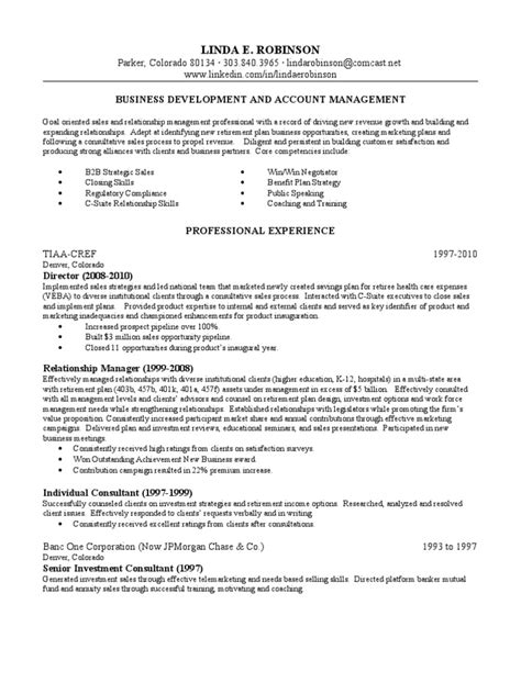Account Relationship Manager Sle Resume by Account Relationship Manager In Denver Co Resume Robinson Docshare Tips