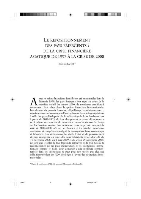 (PDF) Le repositionnement des pays émergents : de la crise