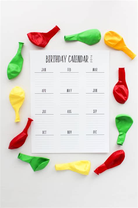 Birthday Calendar Birthday Calendar Printable Let S Mingle