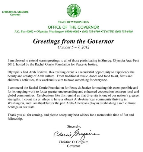 Scholarship Letter Greeting Governor Gregoire Sends Warm Greetings To Arab Corrie Foundation