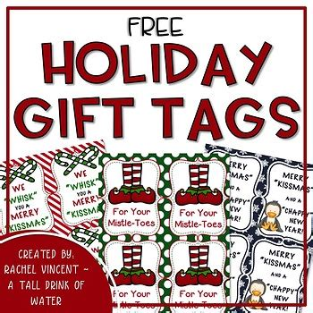 holiday gift tags freebie  rachel vincent teachers pay teachers