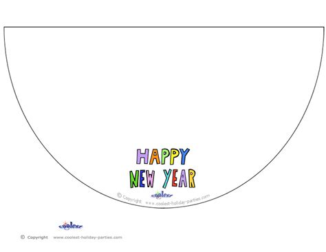 new years hat template printable colored happy new year cone hat