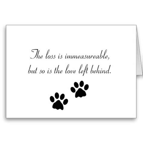 comforting words for loss of a pet the loss is immeasureable sympathy card dog rainbow