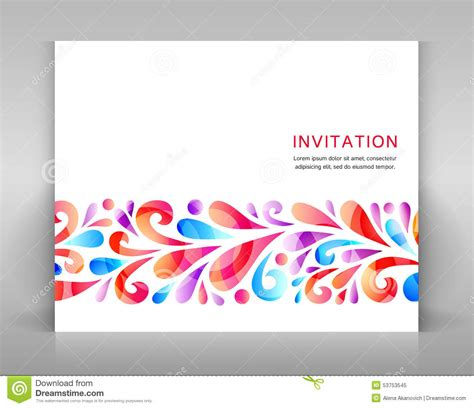 invitation card design elements invitation with floral elements stock photo image 53753545