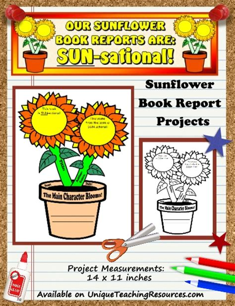 flower book report template sunflower book report projects templates worksheets