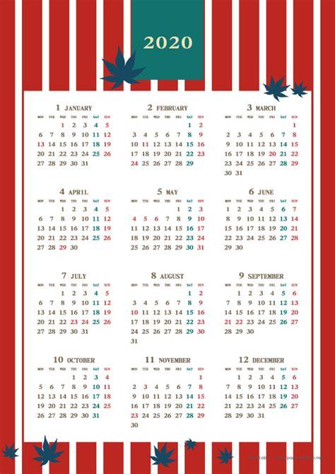 カレンダー 2020 無料 かわいい