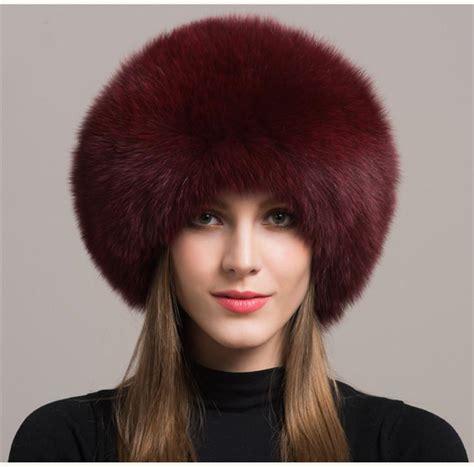 hairby minklittle women real burgundy fox fur hat russian winter warm ear