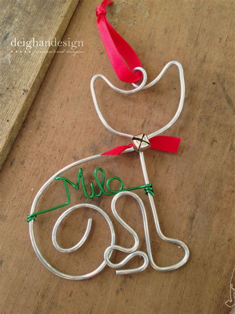personalized cat pet ornament handcrafted wire by