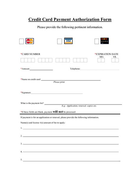 Printable Credit Card Authorization Form Template best photos of blank credit card template credit card blank template credit card blank