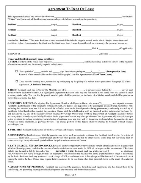 rental property lease agreement template free 10 best rental agreements images on rental