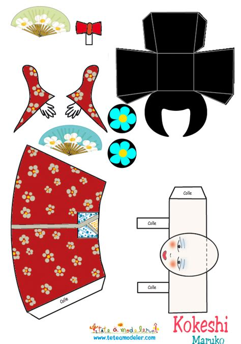 How To Make Papercraft Dolls - kokeshi maruko papercraft ideas