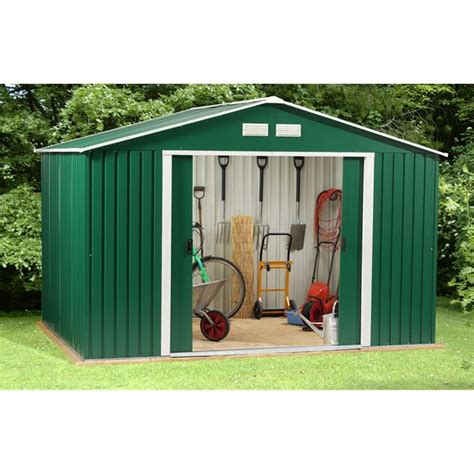 Metal Shed 10 X 10 by 10 X 10 Waltons Springdale Emerald Apex Metal Shed