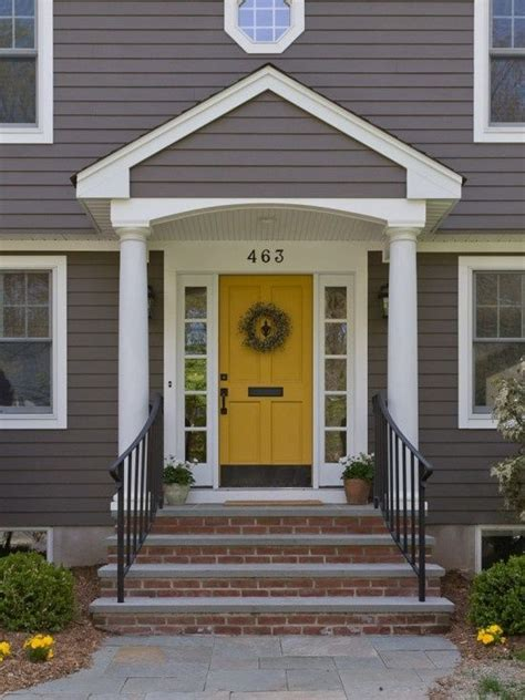 grey house yellow door for the home pinterest