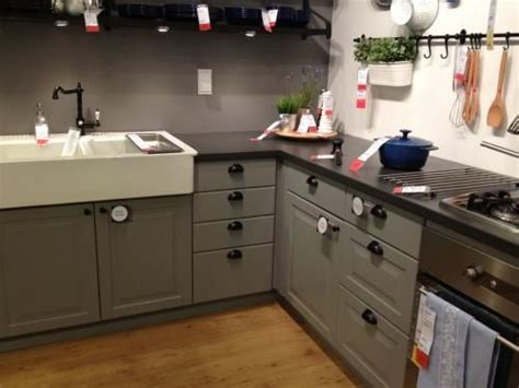ikea lidingo gray lower cabinets black countertops