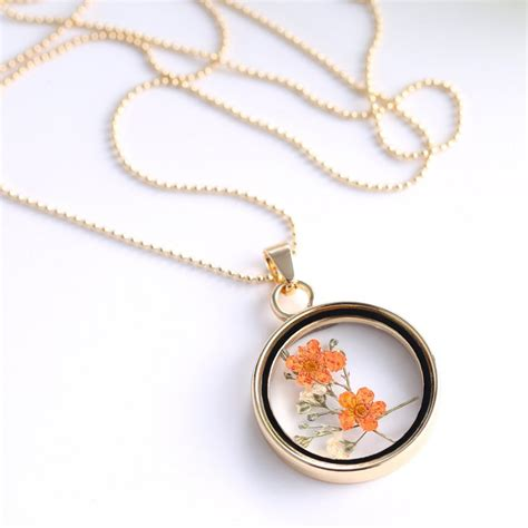 dried real flower clear resin glass pendant necklace