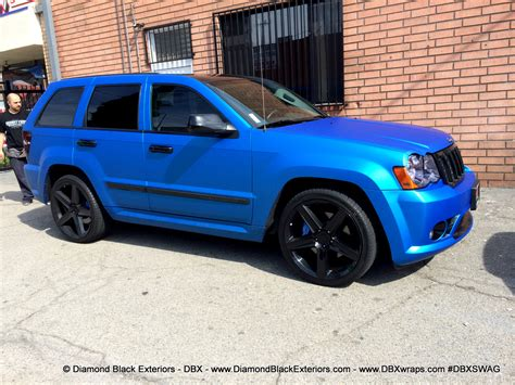 jeep matte blue jeep grand cherokee srt8 wrapped in matte blue aluminum by