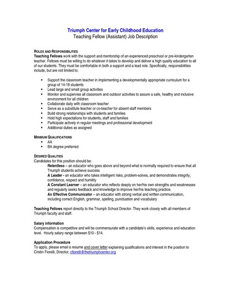 teacher assistant resume job description resume cover