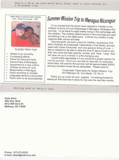 Mission Trip Fund Raising Card Mission Trip Support Letter Template