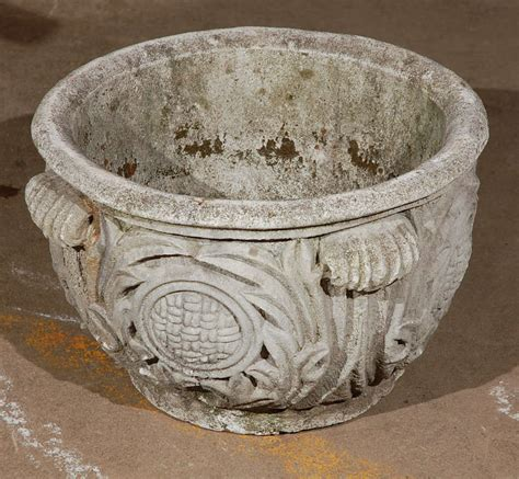 Cast Concrete Planters by Cast Concrete Planter With Acanthus Leaf Detail At 1stdibs
