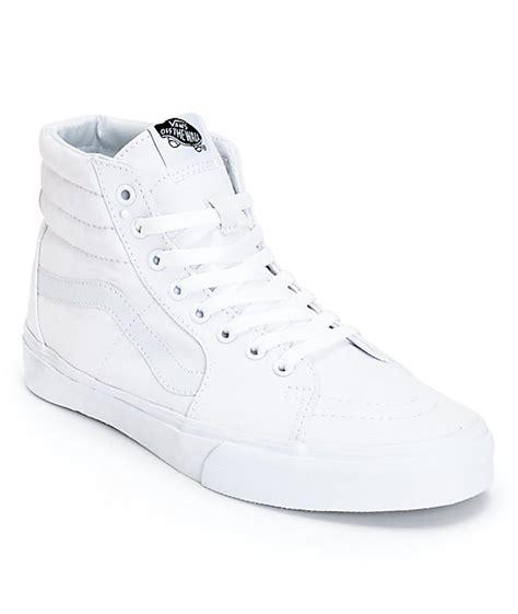 vans sk8 hi true white canvas skate shoes mens at zumiez