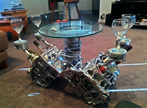 Engine Glass Coffee Table He Got Sick Of Junk Laying Around So He Did Something Amazing With It Wow
