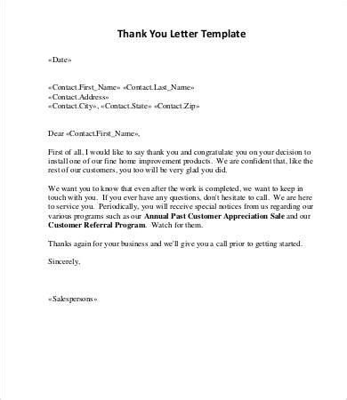 thank you letter after sle sales letter 12 free word pdf documents