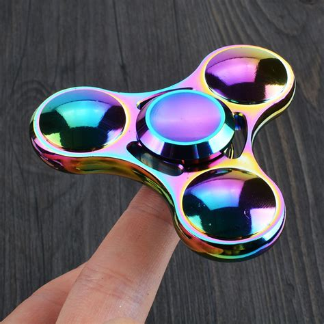 Rainbow Tri Fidget Spinner Multi Color Acak colorful tri spinner metal edc multi color rainbow multicolor spiner handspinner finger