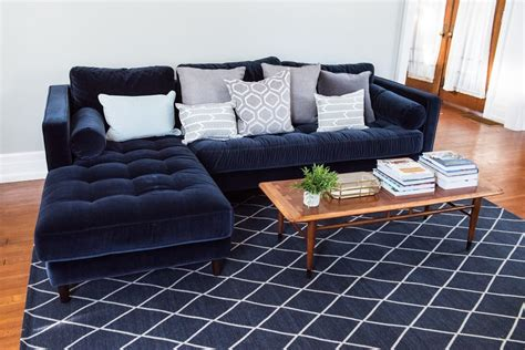 blue velvet sofa living a living room update our new velvet sofa the sweetest