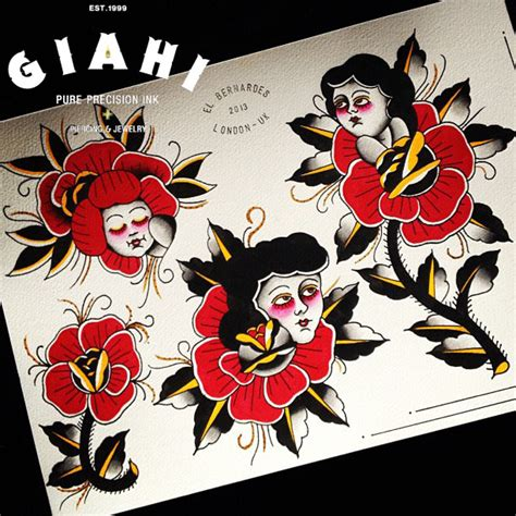 old rose ladies tattoo ideas by elda bernardes